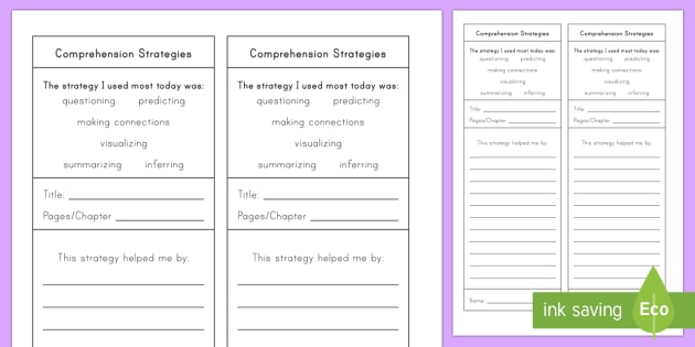 Reading Comprehension Strategies Worksheets - Worksheets Day