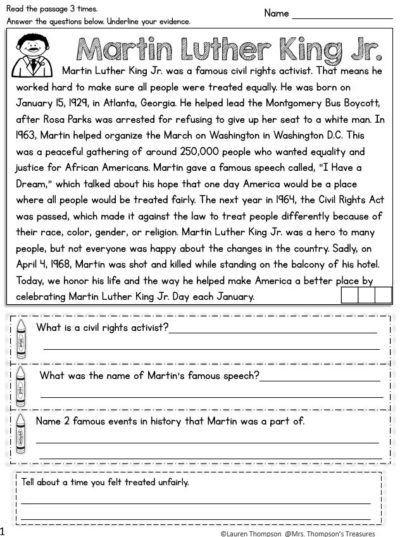 Martin Luther King Jr Comprehension Worksheets - Worksheets Day