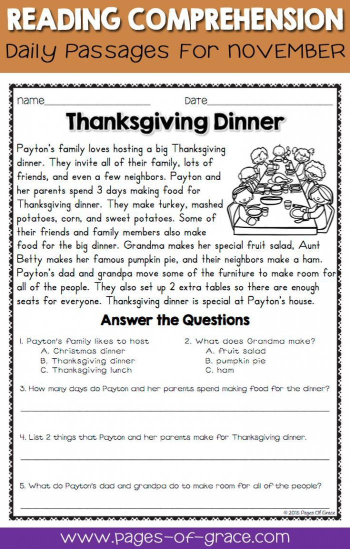 Thanksgiving Reading Comprehension Worksheets - Worksheets Day